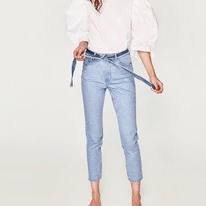 NWOT Zara Mom Fit Stonewash Ankle Jeans